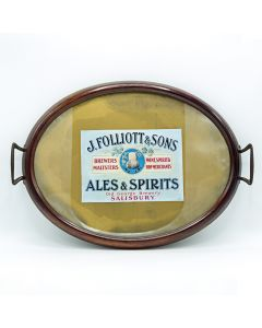 John Folliott & Sons Oval Wooden & Glass Tray