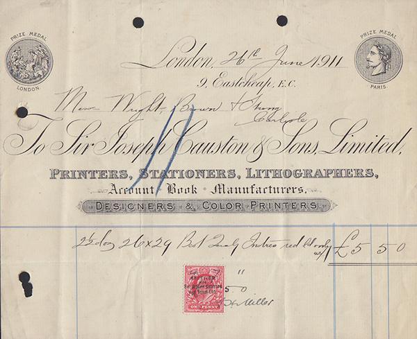 Invoice Letterhead 1911