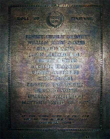 Bronze Roll Of Honour Plaque